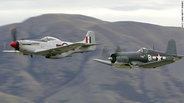 Similar to Skipper, a real F4U Corsair, at right, makes a low pass over an airfield during a 2006 airshow in Lake Wanaka, New Zealand.