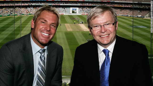 Australian Prime Minister Kevin Rudd (R) and Shane Warne were united in their criticism of the umpires
