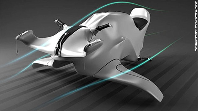 Also in the running for the greenest ski machine around is the wind-powered Nereus concept by Mathias Koehler. Pivoting fins at the base allow you to steer it underwater too.