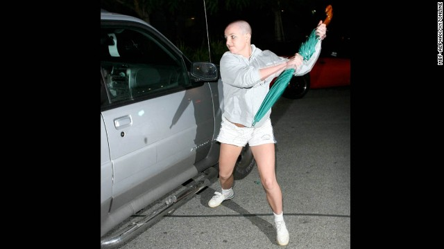 Britney Spears' career has rebounded from her 2007 meltdown, but the star has yet to live down her infamous run-in with the paparazzi that year. Newly bald after shaving her head at a California salon that February, Spears <a href='http://www.time.com/time/specials/packages/article/0,28804,1892685_1892691_1892788,00.html' >attacked a paparazzo's car with an umbrella</a> outside the home of her ex, Kevin Federline, in Tarzana.