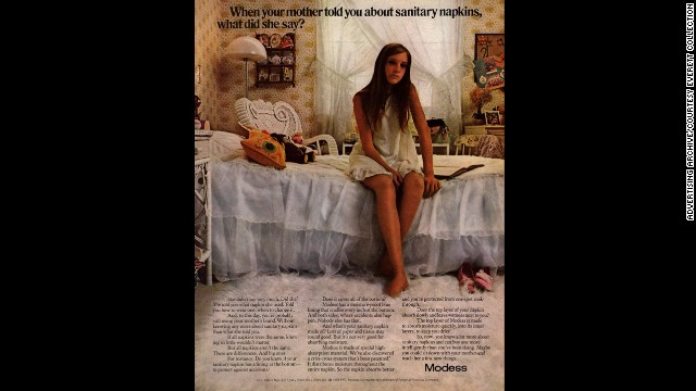 "This 1970s-era magazine advertisement for Modess sanitary napkins asks women to reconsider the feminine protection options their mothers passed along. Johnson & Johnson's Modess ads ran for decades. The campaign is best known for its ""Modess because"" ads, which featured glamorous models wearing evening gowns."