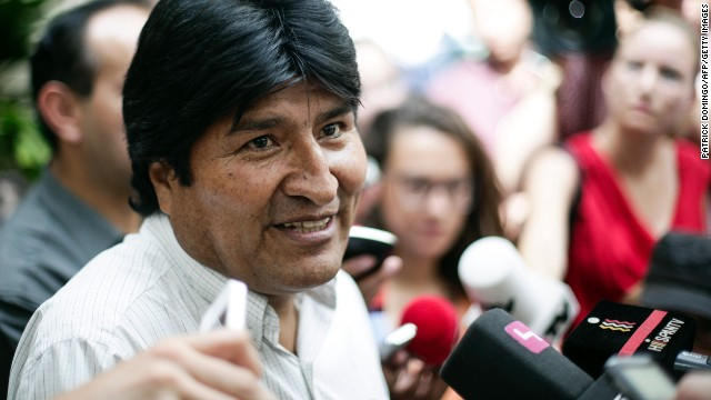 "Bolivian President Evo Morales holds a news conference at the Vienna International Airport on July 3. He angrily denied any wrongdoing after his plane was diverted to Vienna and said that Bolivia is willing to give asylum to Snowden, as ""fair protest"" after four European countries restricted his plane from flying back from Moscow to La Paz."