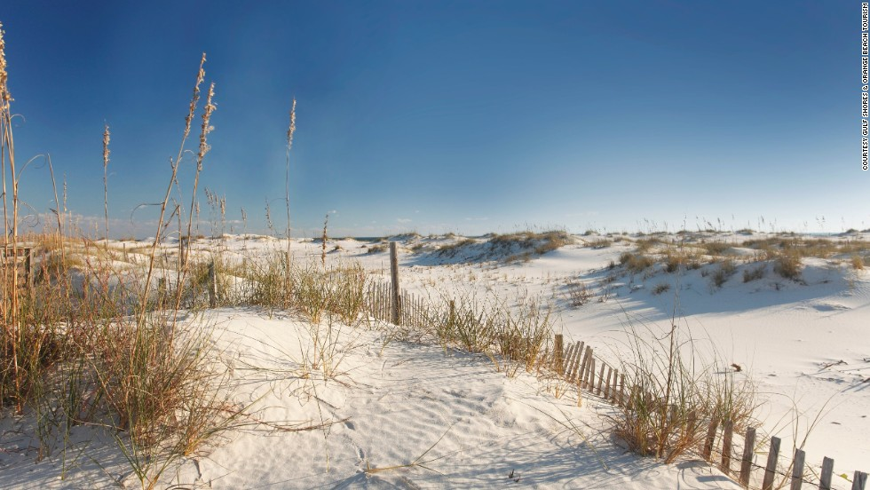 <a href='http://www.alapark.com/gulfstate/Gulf%20State%20Park%20Pier/' target='_blank'>Alabama's Gulf State Park </a>in the city of Gulf Shores features a two-mile white sand beach for swimming; more than seven miles of backcountry trails for walking and biking; and camping and lodging facilities for people who want to spend more time at the park.