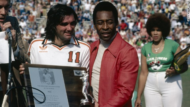 Pele (right) joined the New York Cosmos in 1975 and led a troop of superstars who flocked to the North American Soccer League (NASL). George Best, pictured here with the Brazilian, was a Manchester United legend who enjoyed three separate spells in the NASL.
