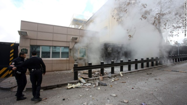 A suicide bomb goes off at the <a href='http://www.cnn.com/2013/02/01/world/europe/turkey-embassy-explosion/index.html'>U.S. Embassy in Ankara, Turkey,</a> on February 1. A security guard was killed and a journalist was wounded in the attack. The Revolutionary People's Liberation Party-Front, or DHKP-C, took responsibility for the bombing.