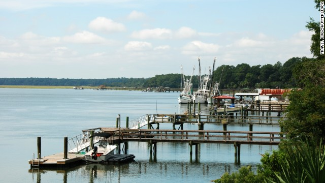 Hilton Head, South Carolina, is known for its beaches, boating and golfing. Shown here are some docked shrimp boats.