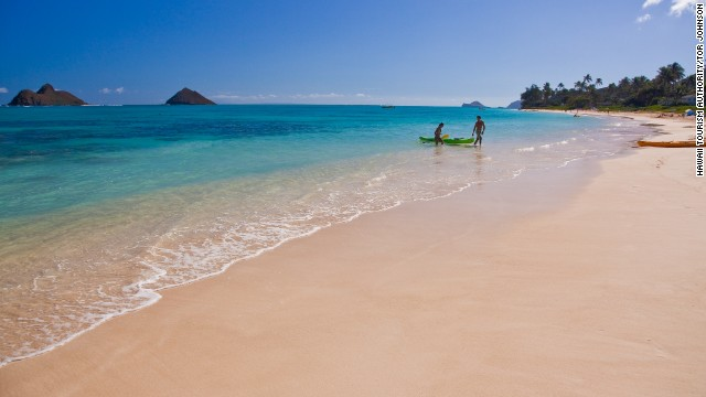 Lanikai Beach in Kailua, Oahu, features the beautiful waters and sands that make Hawaii famous for its beaches.