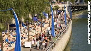 Seine-side on the Paris Plages.