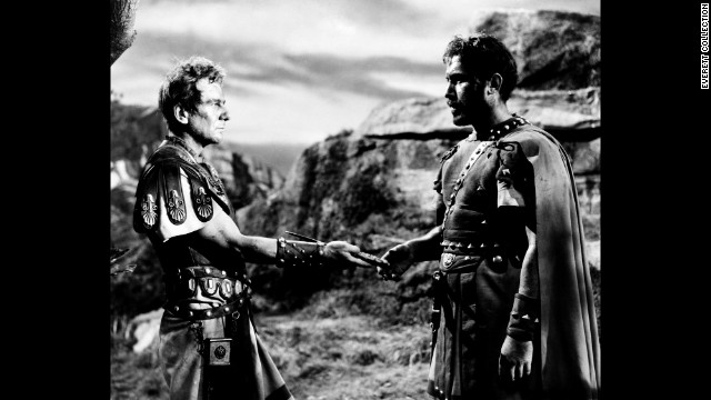 "Ansara, right, appears as Pindarus in a 1953 production of ""Julius Caesar"" with John Gielgud as Cassius."
