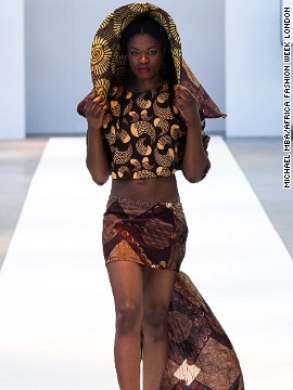 "Ronke Ademiluyi, founder of Africa Fashion Week London, says the event's main goal is to bring attention to designers. ""To showcase their creativity to the world so they get more global recognition for what they do and more appreciations for their brands as well."" <i>Outfit: Lady Curvez.</i><!-- --> </br>"