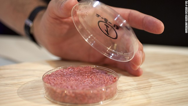 The burger, which cost more than $380,000 to develop, is made from 20,000 strips of cultured meat mixed together with lab-grown animal fat.