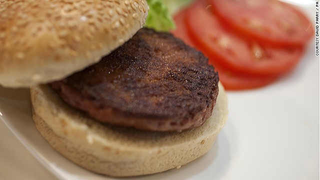 The world's first test-tube burger, <a href='http://cnn.com/2012/08/13/tech/innovation/lab-grown-meat'>grown in a laboratory from a cow's stem cells</a>, was served and eaten in London today. Scientists believe artificial meat could be sold in supermarkets within five to 10 years
