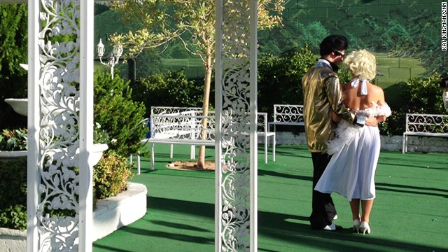 """Elvis"" and ""Marilyn"" tie the knot at <a href='http://www.alittlewhitechapel.com/' target='_blank'>A Little White Wedding Chapel</a> in Las Vegas."