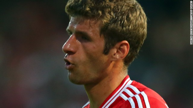 Thomas Muller after scoring his second goal in Bayern Munich's German Cup win.