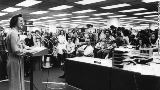 Katharine Graham addresses newsroom employees shortly after the beginning of the pressman's strike against the Post in October 1975.