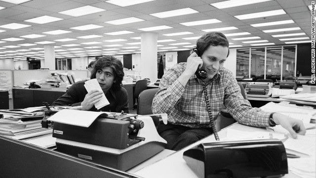 Washington Post reporters Carl Bernstein, left, and Bob Woodward broke stories about the Nixon administration's cover-up after the June 1972 break-in at the Democratic National Committee headquarters. The coverage earned the Post a Pulitzer Prize and sparked a congressional investigation that eventually led to President Nixon's resignation in 1974.