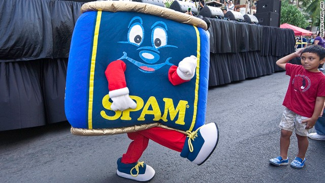Hawaii is the U.S.'s largest consumer of Spam. To celebrate the pink meat, the city of Waikiki hosts the annual Spam Jam -- a celebration of all things Spam-related. The mascot, Spammy, entertains the kids.