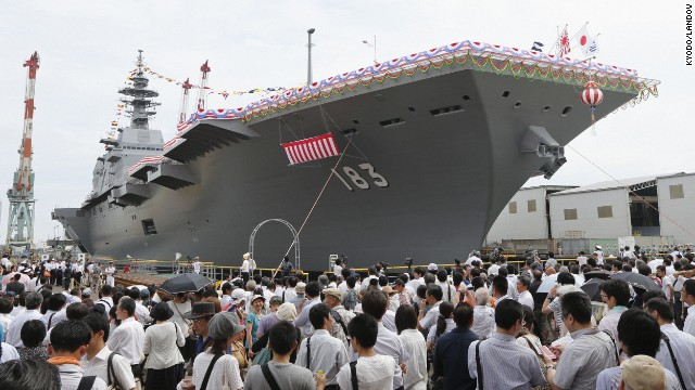 A launching ceremony for Japan's largest military ship since World War II is held in Yokohama on Tuesday, August 6. The 820-foot-long, 19,500-ton flattop destroyer Izumo will be deployed in March 2015.