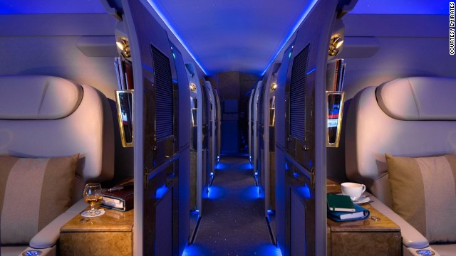 Ten private sleeper cabins take up the rear of the Airbus A319.