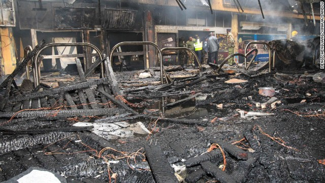 The extensive damage is evident in the charred interior of the airport.
