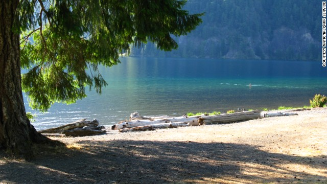Lake Crescent was carved by a glacier and is more than 600 feet deep.