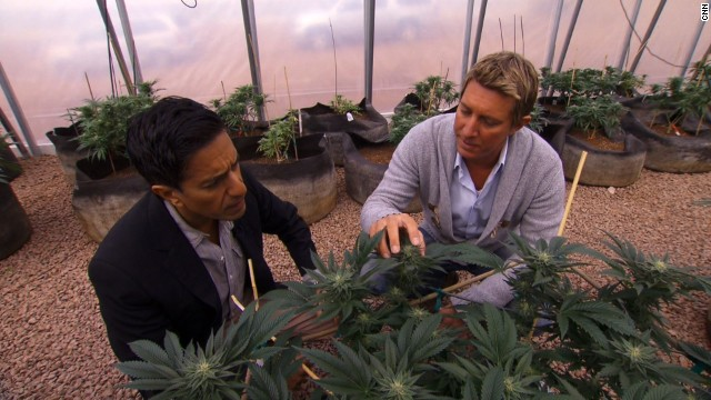 The brothers started the Realm of Caring Foundation, a nonprofit organization that provides cannabis to adults and children suffering from a host of diseases. Here Josh Stanley, right, gives CNN's Dr. Sanjay Gupta a tour.