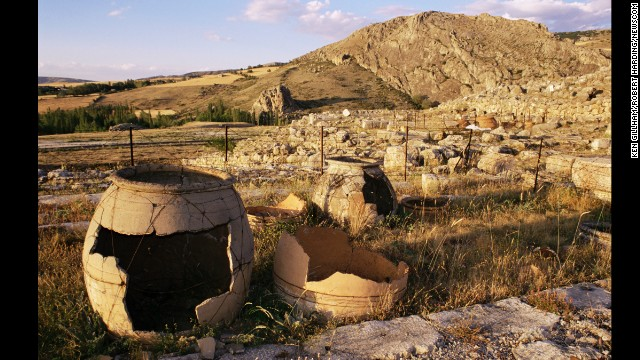 The Hittite Empire was at its strongest from around 1600 to 1200 BC. Hattusha, the capital of the empire, is today an open-air archaeological museum. Shown here is the Temple of Storm God at Hattusha, now in Anatolia, Turkey.