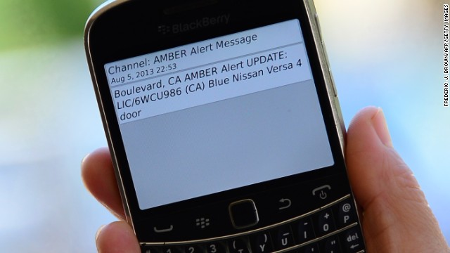 A cell phone in Los Angeles, California, displays an Amber Alert issued late Monday.