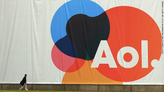 In 2009, America Online developed a simple logo that can be incorporated onto different backgrounds, as seen on this large banner at the AOL headquarters.