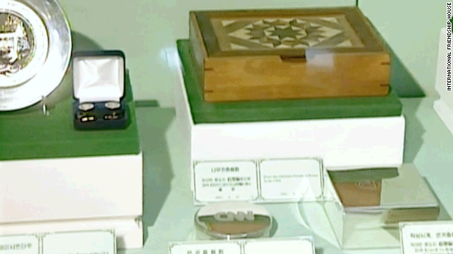 It's shiny and it is from CNN. So is that where my compact went? These are just some of the more unusual gifts to North Korea's leaders from various visiting dignitaries that are on show at the International Friendship Exhibition House. This, and the following images, are drawn from the gift shop DVD.