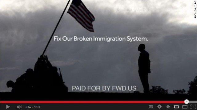 "An immigration-reform group led by Zuckerberg and other tech titans pumped millions of dollars in 2013 into efforts such as a TV ad urging Congress to ""fix our broken immigration system."""