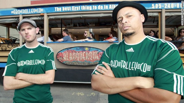 "Jesse Herron, left, and Mike Silva run ABQ Trolley Co., which offers a BaD Tour that shows riders up to 20 ""Breaking Bad"" locations from all five seasons."