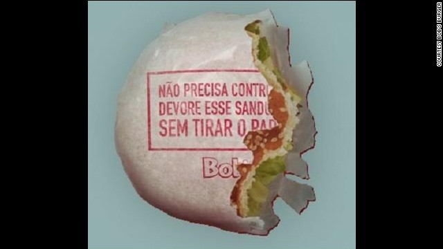 """Eat this sandwich without chucking the paper"" says the wrapper: a direct approach to waste reduction by Brazilian fast-food chain Bob's Burgers, who have started serving their burgers in edible paper."