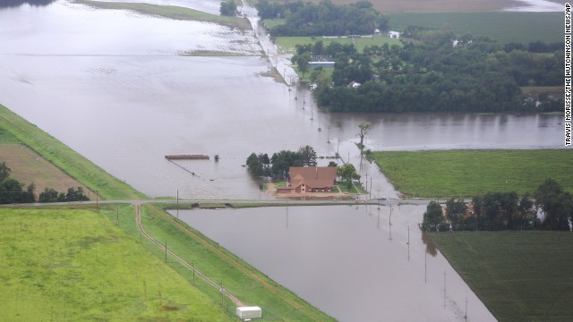Floodwaters surround Mitchell United Methodist Church at a levee in Hutchinson, Kansas, on August 8.
