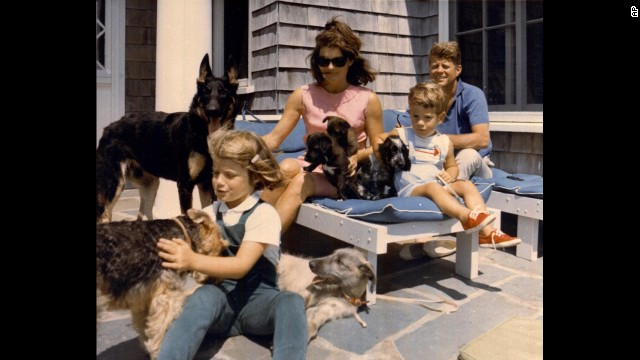 President John F. Kennedy vacations with his family in this undated photo. From left, Caroline, first lady Jacqueline Kennedy, John Jr. and JFK.