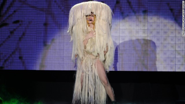 Lady Gaga performs on stage in 2010 at Palais Omnisports de Paris-Bercy in Paris.