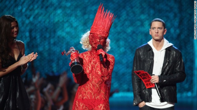 "Lady Gaga accepts the award for ""Best New Artist"" from Eminem during the 2009 MTV Video Music Awards at Radio City Music Hall."