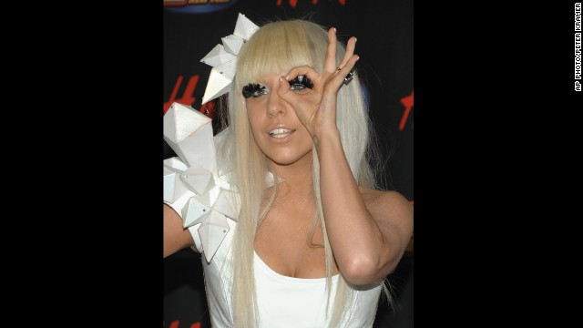 Lady Gaga poses in the press room at the Z100 Jingle Ball concert at Madison Square Garden in New York City in 2008.