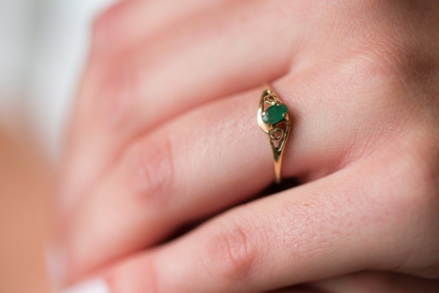 Alison Spann wears a ring her father had made for her mother.