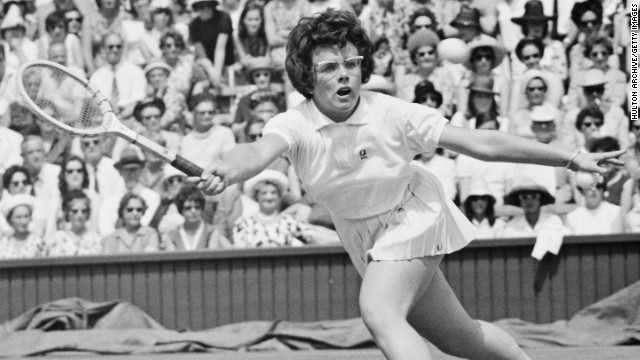 King made her tennis debut back in 1959. Here, competing under her maiden name Moffitt, she plays a forehand volley during her Wimbledon semifinal in 1964.