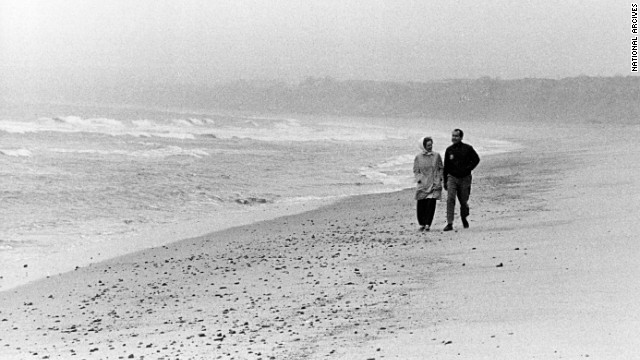 President Richard Nixon and his wife, Pat, walk along the beach in San Clemente, California, in 1971.