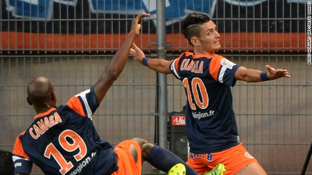 Montpellier's French midfielder Remy Cabella celebrates his opening goal of the Ligue 1 campaign against reigning champions Paris St German.