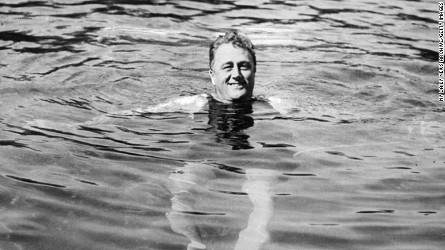 President Franklin D. Roosevelt swims in Warm Springs, Georgia. It was there that he died in April 1945.