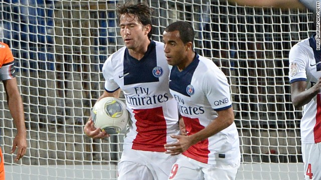 Maxwell picks up the ball after scoring PSG's equalizer in their first Ligue 1 match of the season at Montepellier.