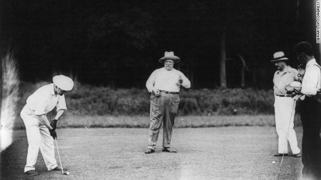 President William H. Taft liked to spend his vacation time playing golf. Here Taft, center, enjoys a round at the Chevy Chase Country Club in Maryland in 1909.