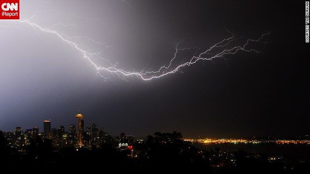 "When Seattle was pummeled with a severe electrical storm in August 2013, ""all of us photographers stood and watched in amazement,"" said <a href='http://ireport.cnn.com/docs/DOC-1018445'>Tim Durkan. </a>He took this photo from Kerry Park in the Queen Anne neighborhood."