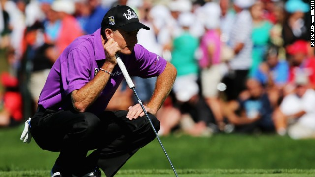 Jim Furyk wanted to get it just right as he prepared to hit a shot on the sixth hole. He got most everything right and leads by a shot entering play Sunday.