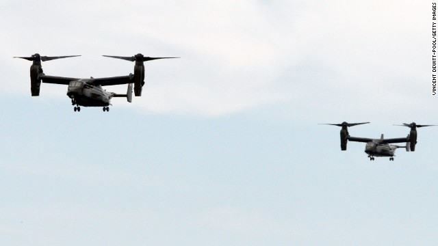 Osprey aircraft deployed for first time in support of Marine One