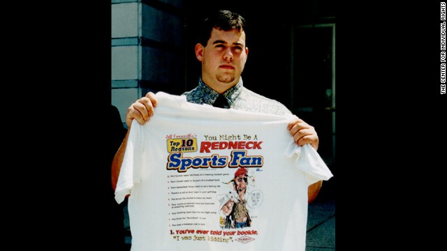 "In 2001, Tom Sypniewski was<a href='http://transcripts.cnn.com/TRANSCRIPTS/0106/26/tl.00.html'> suspended from Warren Hills Regional High School for wearing a ""You Might be a Redneck"" T-shirt.</a> School officials call the shirt's message racial stereotyping."