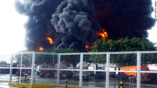 Partial view of the refinery of Guaraguao after a fire broke when a lightning struck a treatment pond, August 11, 2013.